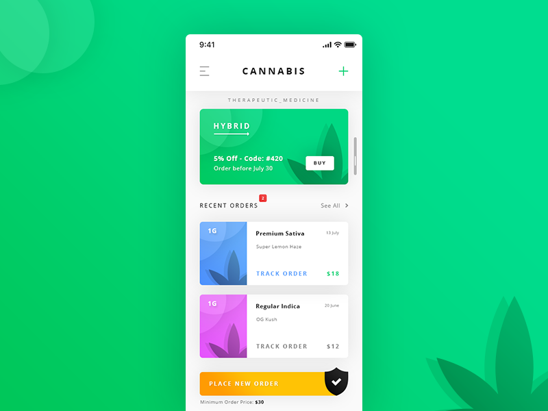 Cannabis Dashboard. App #Freebies recent orders card hybrid strain marijuana shield sativa indica therapeutic medicine cannabis psd photoshop free freebies ios app ui ux