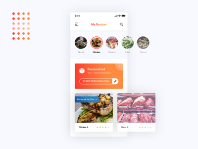 My Recipes. App UI Design #Rebound #Freebies meal chicken food recommandations personalized stars psd photoshop free freebies rebound my recipes ios app ui ux
