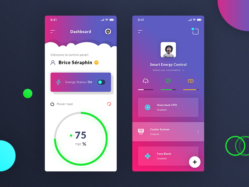 Energy Dashboard & Control Panel. App #Freebies user profile dashboard fans cpu water cooling circle progress bar switch button free freebies psd photoshop ui ux control panel energy dashboard