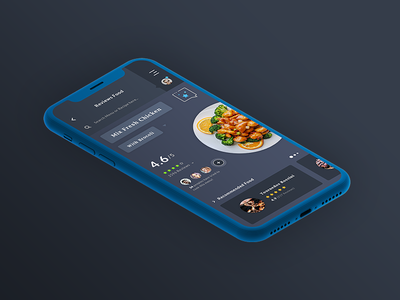 Reviews Food Menu, App #Freebies ios app ui ux freebies free reviews stars recipes psd photoshop chicken meet restaurant reviews food menu isometric iphone x clay