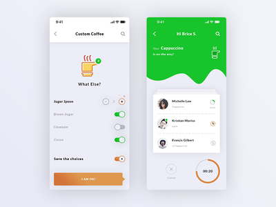 Custom Coffee & Order Details. IOS App #Freebies statistiques curves stats circle progress bars dashboard coffee switch button psd photoshop free freebies ui ux ios app order details custom coffee