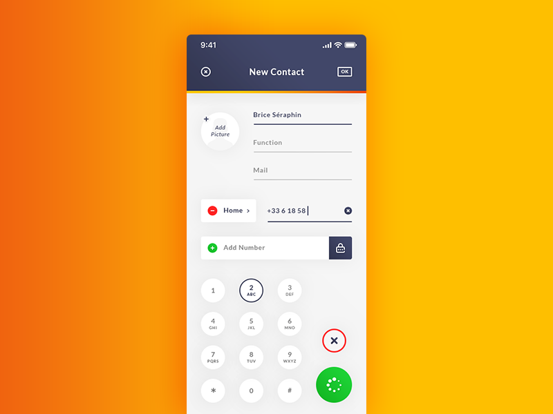 Add New Contact. IOS App ReDesign #Freebies phone gradient ui ux add picture numbers psd photoshop free freebies apple redesign ios app keyboard add new contact