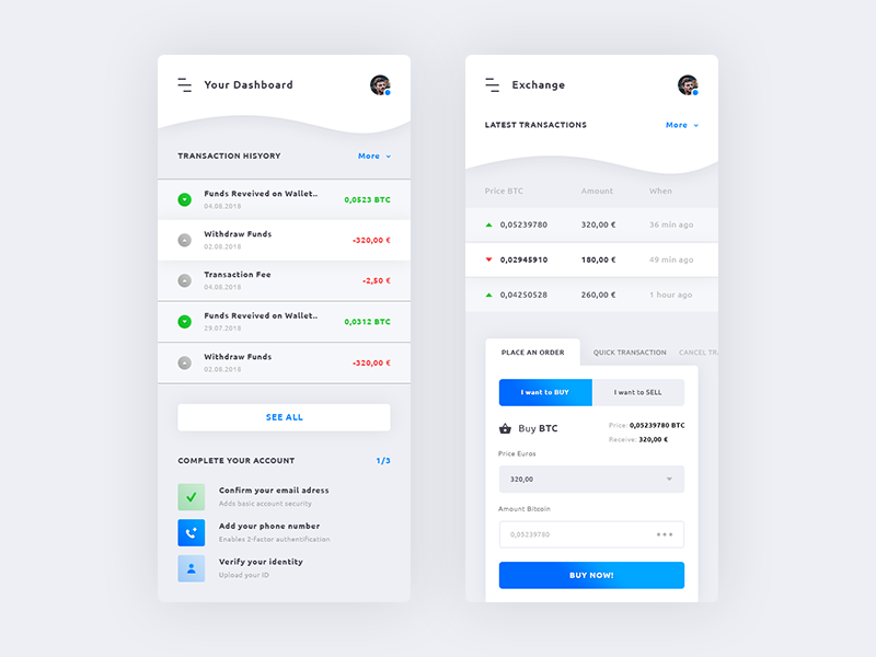 Dashboard & Cryptocurrency Exchange. IOS App #Freebies sell euros place an order buy bitcoin complete your account transaction history free freebies psd photoshop ui ux ios app cryptocurrency exchange. dashboard