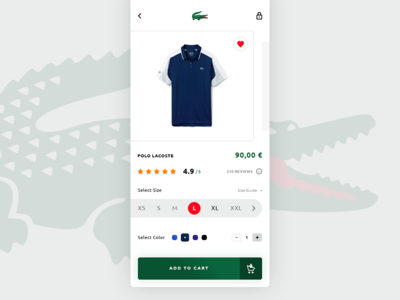 Lacoste Store. IOS App #Freebies free freebies french brand crocodile polo colors sizes reviews lacoste brand psd photoshop e-commerce store market ui ux