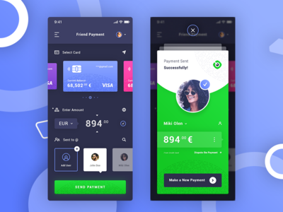 Friend Success Payment. IOS App #Freebies user profile successfully add user sen to enter amount credit card ios app ui ux free freebies psd photoshop payment success friend payment