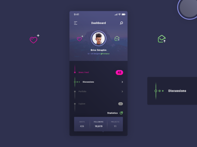 Dahsboard User Profile. IOS App #Freebies bullets timeline icons image profile tags statistics free freebies ui ux ios app user profile dashboard psd photoshop
