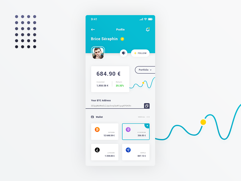 Wallet & Profile. IOS App #Freebies curve adress dashboard cryptocurrency bitcoin statistics free freebies psd photoshop ui ux ios app user profile wallet