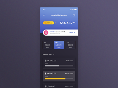 Wallet (Available Money). IOS App #Freebies task cryptocurrencies finance progress bar dashboard psd photoshop free freebies ios app ui ux personal goals available money wallet