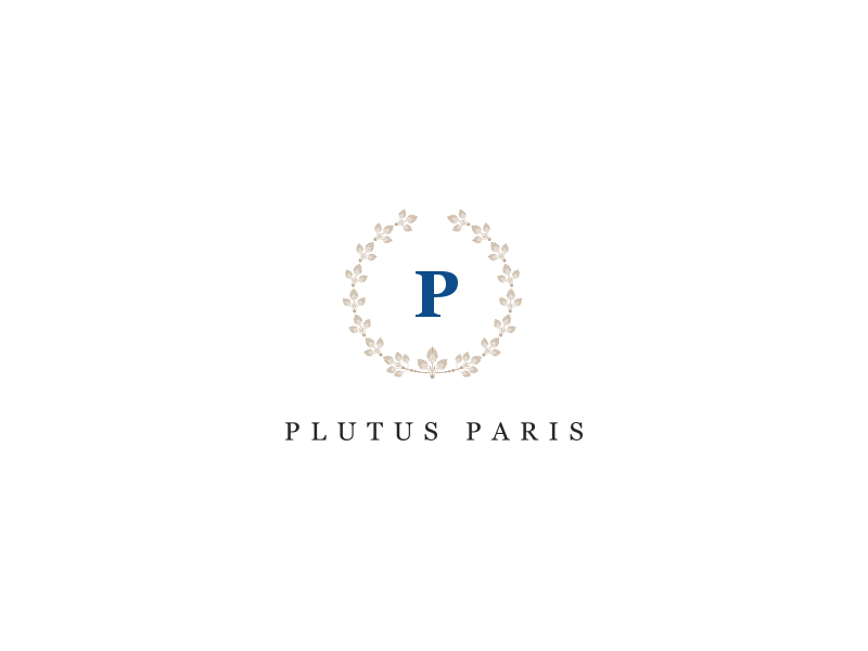 Plutus Paris. Logo leather goods leather bag flower crown letter p circle psd photoshop georgia font typo typography brand branding logo logotype
