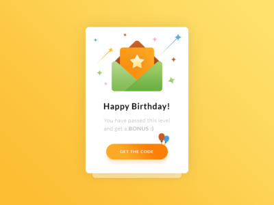 Congrats. Happy Birthday UI-UX #Freebies mail enveloppe pop up code bonus free freebies psd photoshop stars balloons happy birthday icons illustrations ui ux widget modal box
