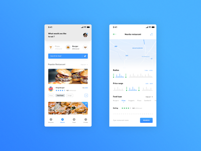 Food. IOS App #Freebies ui ux progress bar filters map pizza burger psd photoshop free freebies ios app eat food menu restaurant