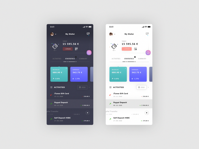 My Wallet. IOS App #Freebies user profile statistics activities light  dark filters ios icons psd photoshop free freebies ui ux ios app total balance wallet