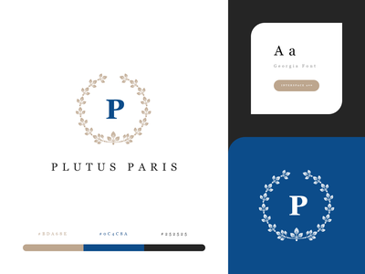 Plutus. Branding / Identity brand french logotype georgia font ui style color palette photoshop psd luxe logo print visual identity branding