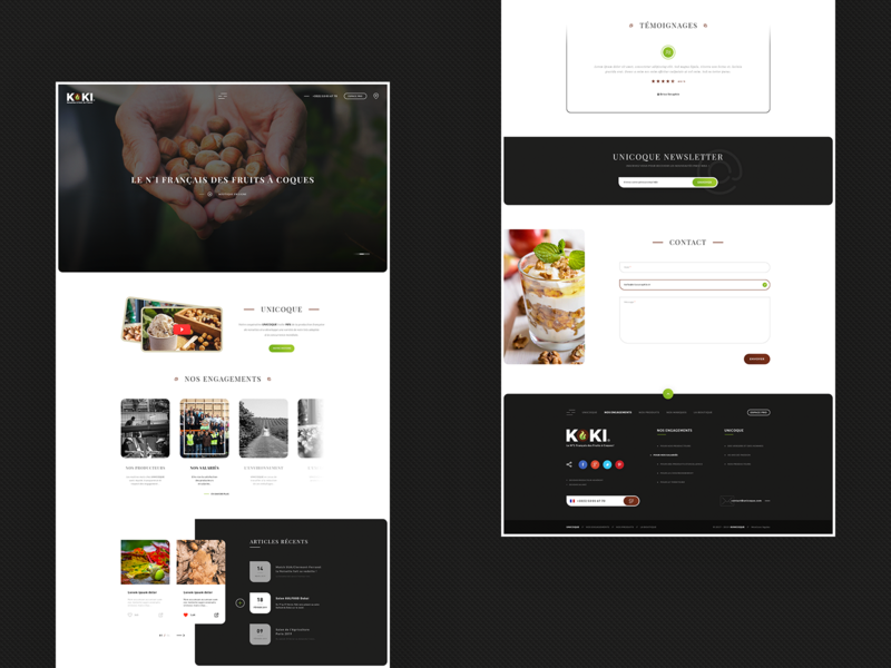 Unicoque. ReDesign newsletter contact form recents articles blog ux ui webdesign home page landing page photoshop psd redesign nuts hazelnuts unicoque