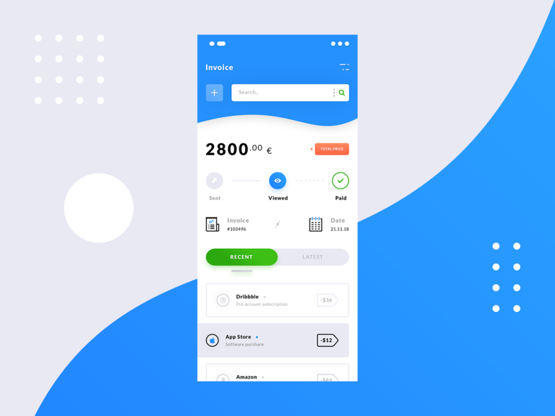 Invoices App #Exploration #Freebies transactions date paid steps iphone x mock up freebies free photoshop psd price invoices ios application app product design ux ui blue light