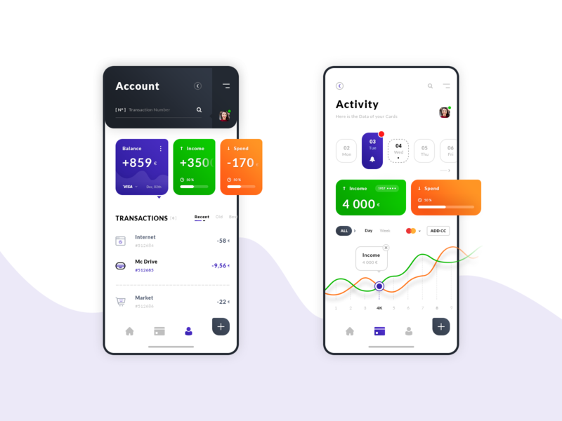 Account & Activity. IOS App #Freebies balance spend income iphone x application stats graphic date bank wallet user interface freebies free photoshop psd uiux ui ios app activity account