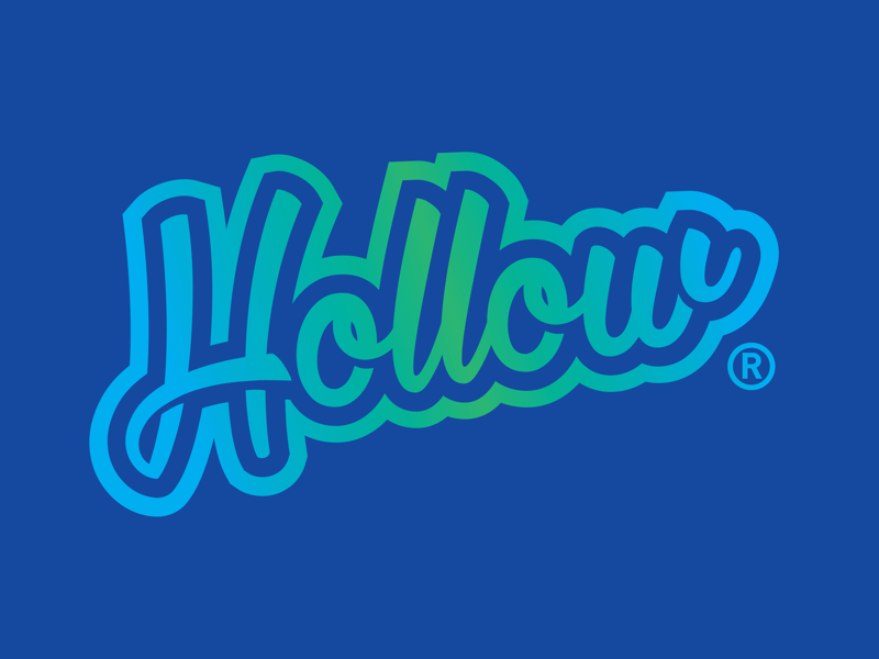 Hollow Boarding Company blue green neon gradient lettering surf design logo company boarding hollow