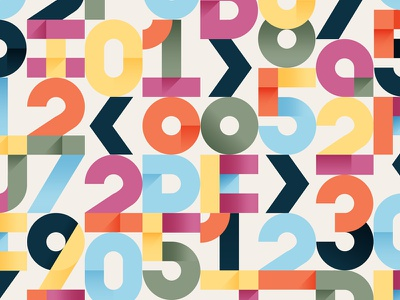 Numbers color typography blog letters numbers illustration debut