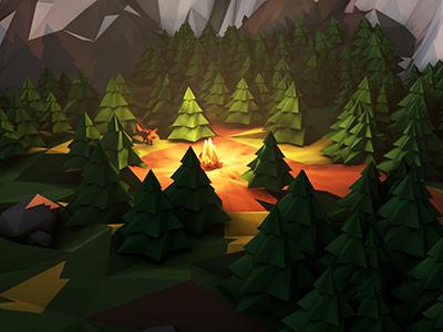 Campfire Close-up 1 fire mountains forest 3d low poly cinema 4d 4d photoshop camp