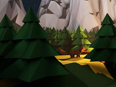 Campfire Close-up 2 3d low poly cinema 4d 4d photoshop camp fire mountains forest