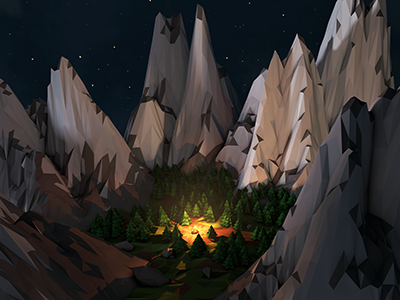 Final Forest Render 3d low poly cinema 4d 4d photoshop camp fire mountains forest