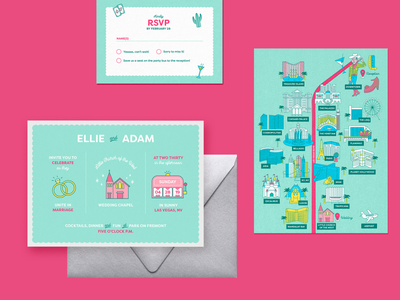 Vegas Wedding Suite wedding print design stationary invitations illustration