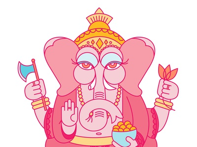 Ganesha geometic hindu illustration