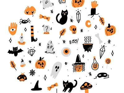 Halloweeeeen digital flat color halloween spooky season spooktober illustration