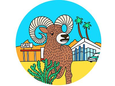 Travel Musings digital travel desert color illustration