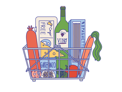 Musings from the Grocery Store design flat vector color illustration