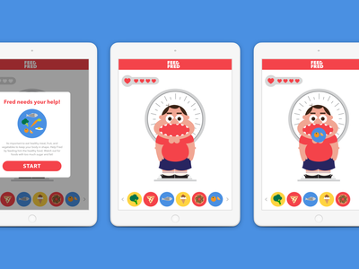 Feed Fred: A Nutrition Game children vector flat app icon logo illustration ui design branding