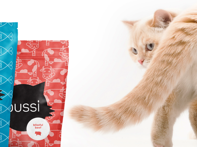 Pussi: Fancy Cat Food pattern packaging design illustration branding