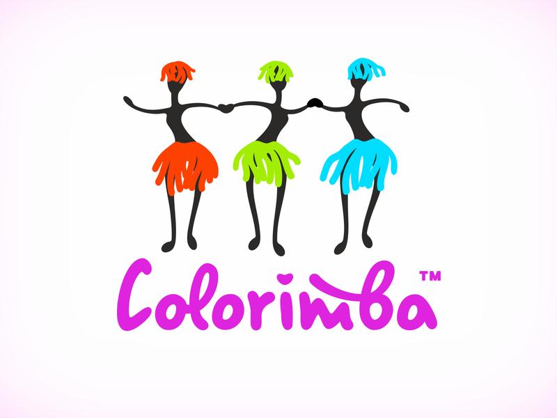 Colorimba logo old work textile dance logo mascot character vector illustration logotype naming branding illustration vector