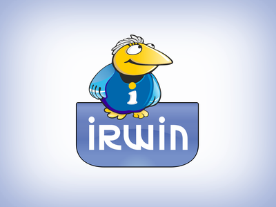 Irwin logo & mascot competitive work irwin number 1 character mascot mascotlogo old work logodesign illustration branding vector