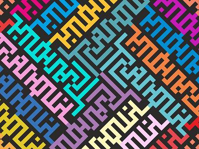 The Tranquil. Text ornament. ornament multicolor pixel textile pixelfont koloslov fontpattern coloslov typography pattern vector illustration branding illustration vector