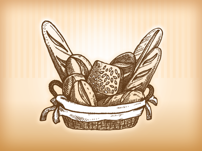 Fresh bread basket vector vectorized vector illustration illustration art illustration hand drawn engraving bread basket bakery