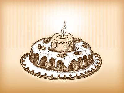 Xmas holiday cake artwork candle bakery holiday xmas cake hand drawn engraving vector illustration illustration vector