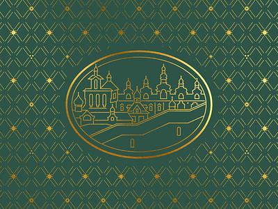 Pskov-Caves monastery lineart russian pechersky pskov orthodox grid pattern pattern ornament vector illustration illustration ethnic church church branding christian logo christian