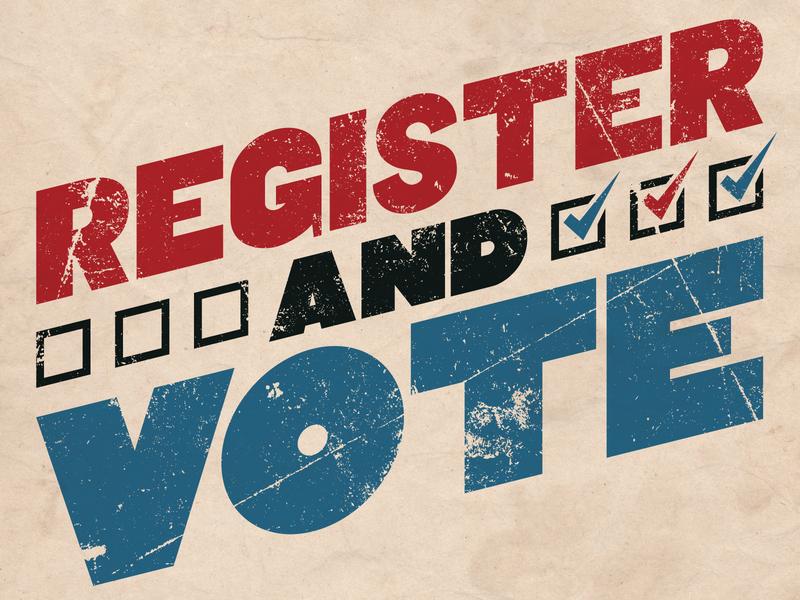 Register And Vote typography democracy texture vote handlettered