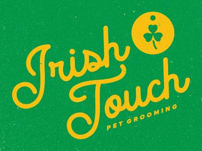 Irish Touch Pet Grooming logomark window sign tag clover wordmark logotype logo design texture logo