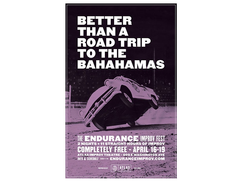 Better than a Road Trip poster type atlas improv co. duotone