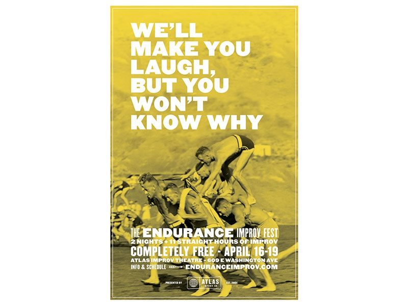 We'll Make You Laugh duotone atlas improv co. type poster