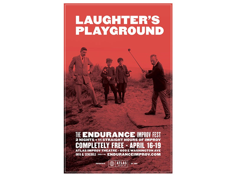 Laughter's Playground duotone atlas improv co. type poster
