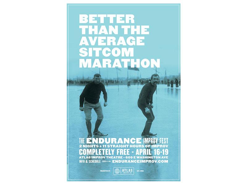 Better than the average sitcom marathon duotone atlas improv co. type poster