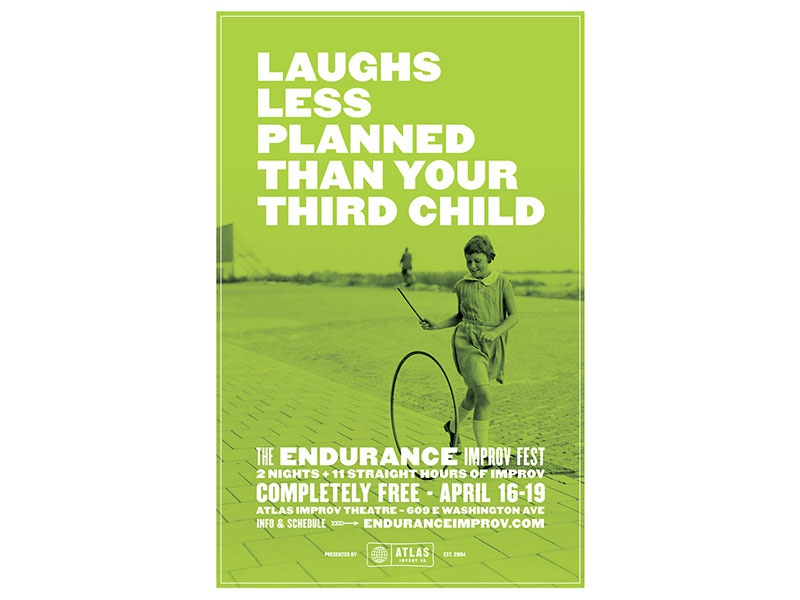 Laughs less planned than your third child duotone atlas improv co. type poster