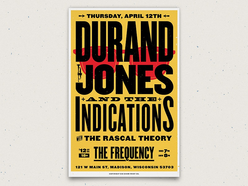 Durand Jones & The Indications - Poster letterpress band venue soul music poster gig poster gig show print