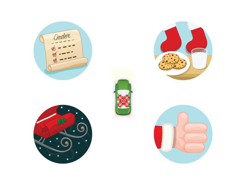 EatStreet - Holiday Order Tracker Icons illustration eatstreet tracker bow car list sleigh santa icon