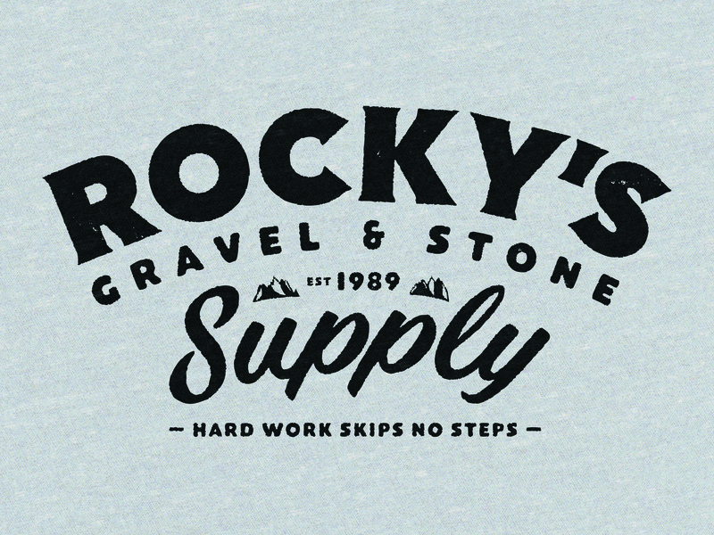 Rocky's Gravel & Stone Supply gravel stone mountains hardwork cottonbureau typography tshirt