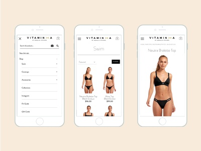 Mobile Ecommerce - Vitamin A mobile navigation navigation product landing page product detail page retail shop pdp plp lifestyle shopify design clean ui mobilefirst mobile ux responsive webdesign ecommerce