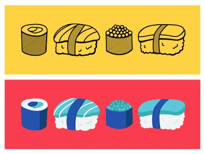 Sushi hand drawn food illustration sushi